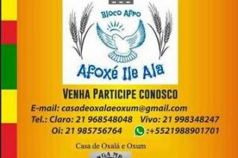 Convite para participar do Bloco Carnavalesco Afro Afoxé Ilê-Alá